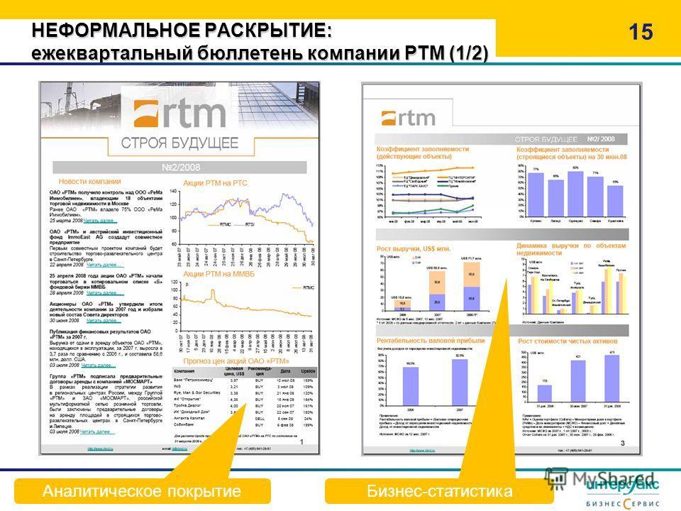 НЕФОРМАЛЬНОЕ РАСКРЫТИЕ: ежеквартальный бюллетень компании РТМ (1/2) 15 Аналитическое покрытие Бизнес-статистика
