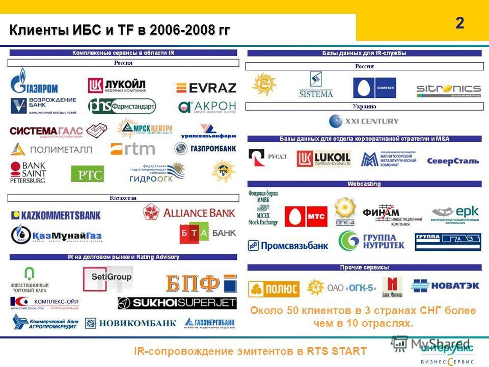 Клиенты ИБС и TF в 2006-2008 гг 2 Около 50 клиентов в 3 странах СНГ более чем в 10 отраслях. IR-сопровождение эмитентов в RTS START