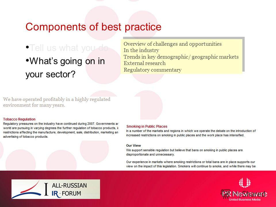 Components of best practice Tell us what you do Whats going on in your sector? Overview of challenges and opportunities In the industry Trends in key demographic/ geographic markets External research Regulatory commentary Overview of challenges and o