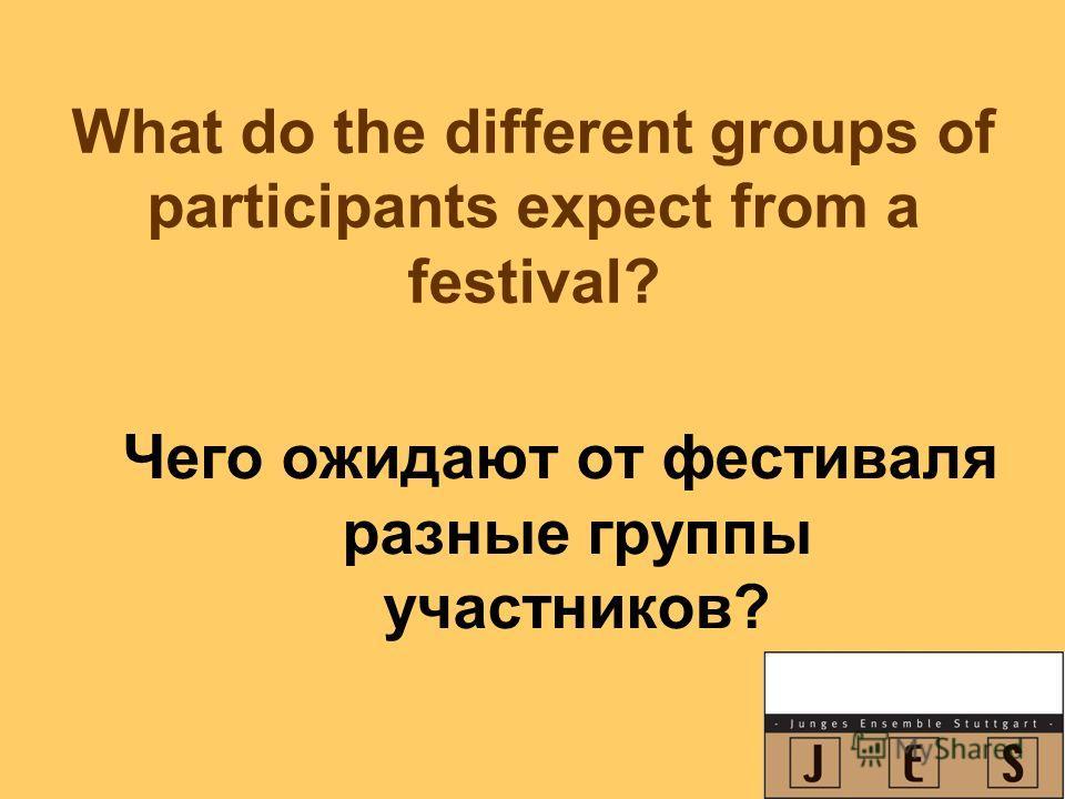 What do the different groups of participants expect from a festival? Чего ожидают от фестиваля разные группы участников?