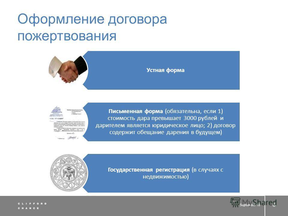 Оформление договора пожертвования Устная форма Письменная форма (обязательна, если 1) стоимость дара превышает 3000 рублей и дарителем является юридическое лицо; 2) договор содержит обещание дарения в будущем) Государственная регистрация (в случаях с