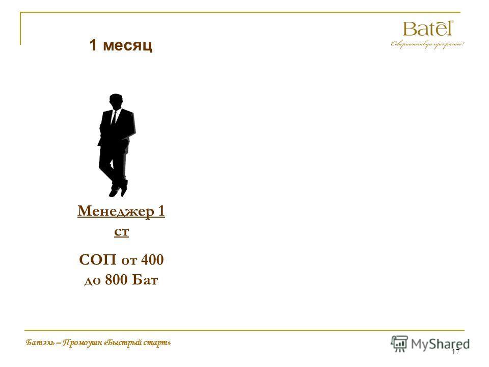 17 Батэль – Промоушн «Быстрый старт» 1 месяц Менеджер 1 ст СОП от 400 до 800 Бат
