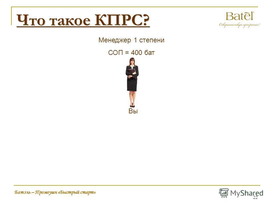 Что такое КПРС? Вы Менеджер 1 степени СОП = 400 бат Батэль – Промоушн «Быстрый старт» 22