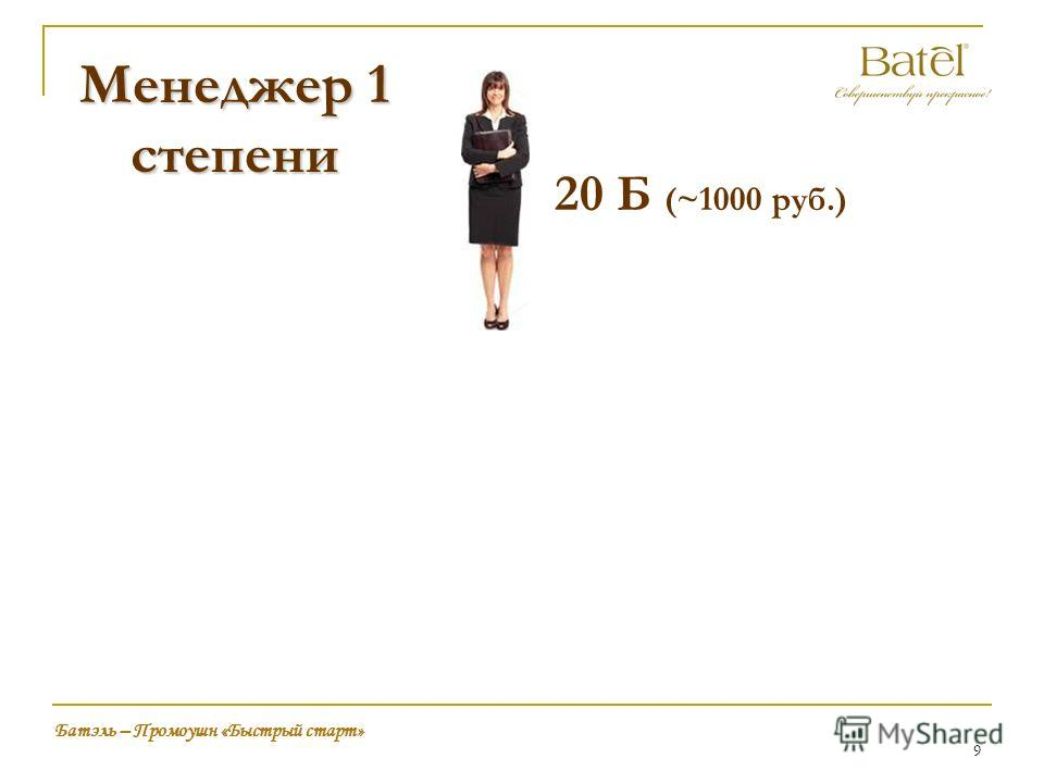 9 20 Б (~1000 руб.) Батэль – Промоушн «Быстрый старт» Менеджер 1 степени
