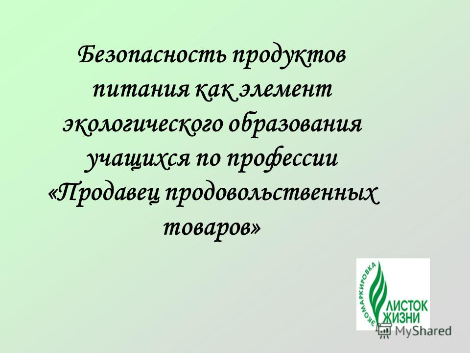 Безопасность продуктов питания как элемент экологического образования учащихся по профессии «Продавец продовольственных товаров»