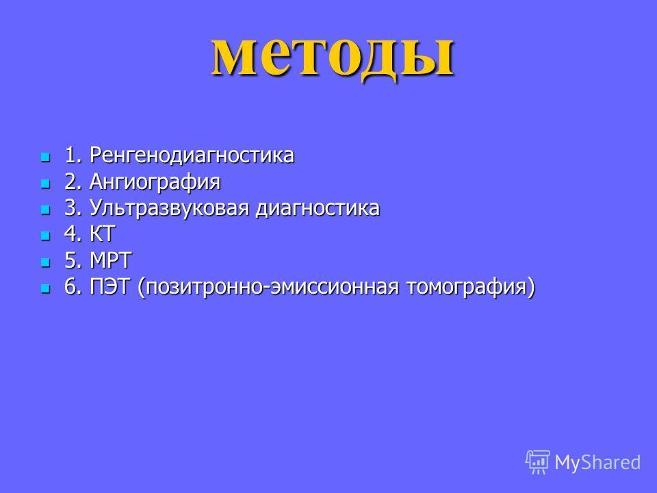 1. Ренгенодиагностика 1. Ренгенодиагностика 2. Ангиография 2. Ангиография 3. Ультразвуковая диагностика 3. Ультразвуковая диагностика 4. КТ 4. КТ 5. МРТ 5. МРТ 6. ПЭТ (позитронно-эмиссионная томография) 6. ПЭТ (позитронно-эмиссионная томография)метод