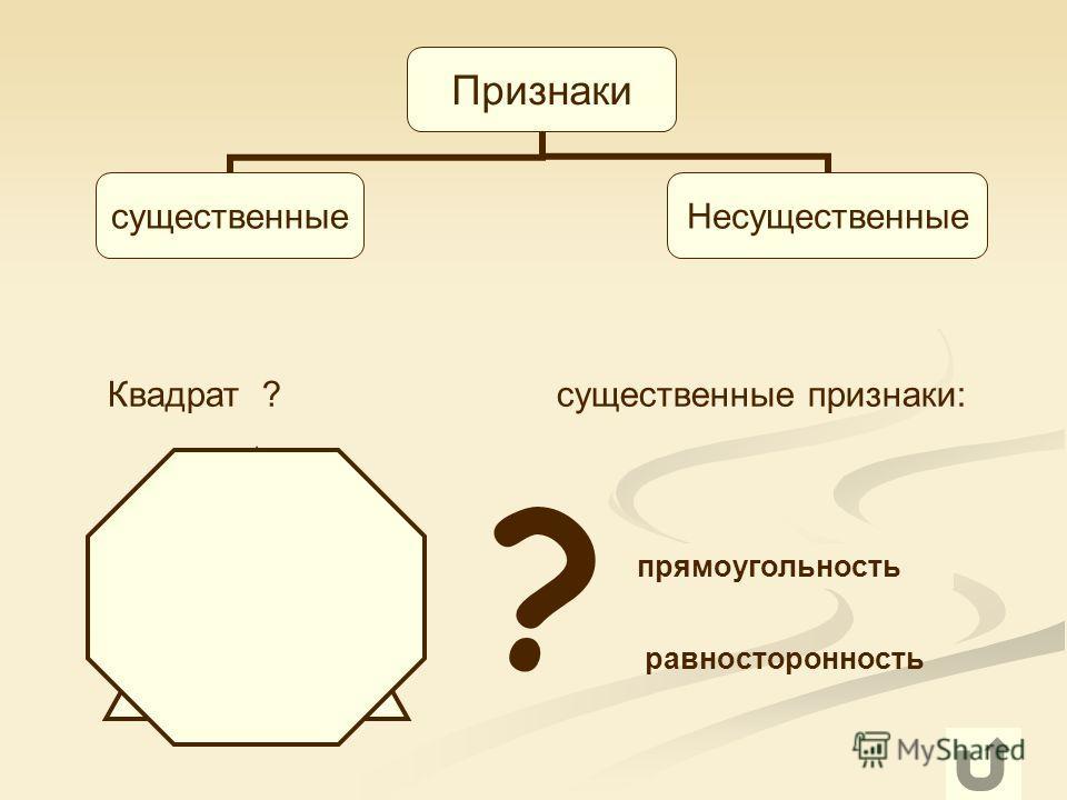 6 Признаки существенныеНесущественные прямоугольность равносторонность Квадрат ? существенные признаки: ?