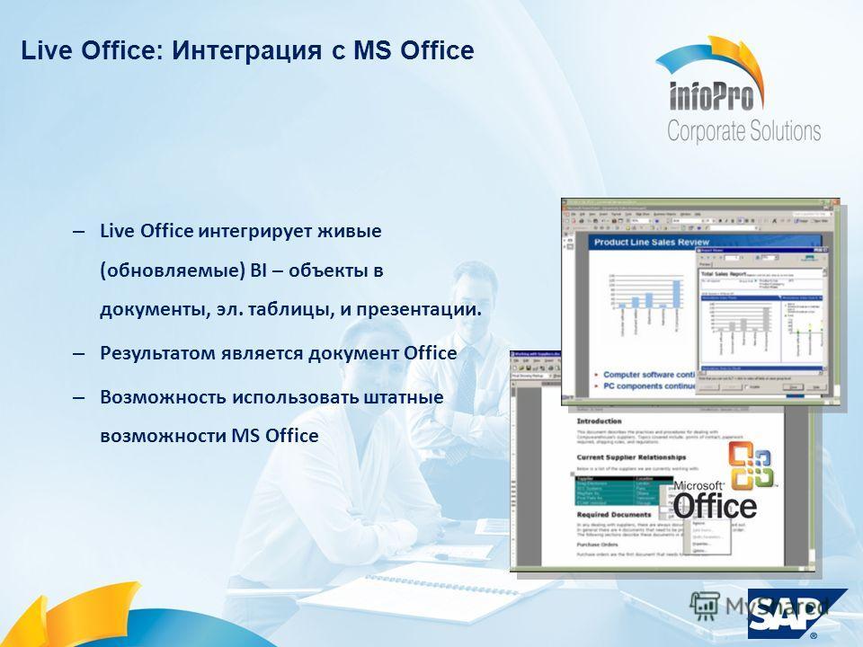 – Live Office интегрирует живые (обновляемые) BI – объекты в документы, эл. таблицы, и презентации. – Результатом является документ Office – Возможность использовать штатные возможности MS Office Live Office: Интеграция с MS Office