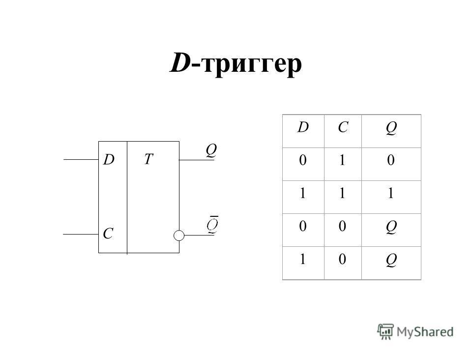 D-триггер DCQ 010 111 00Q 10Q T D C Q