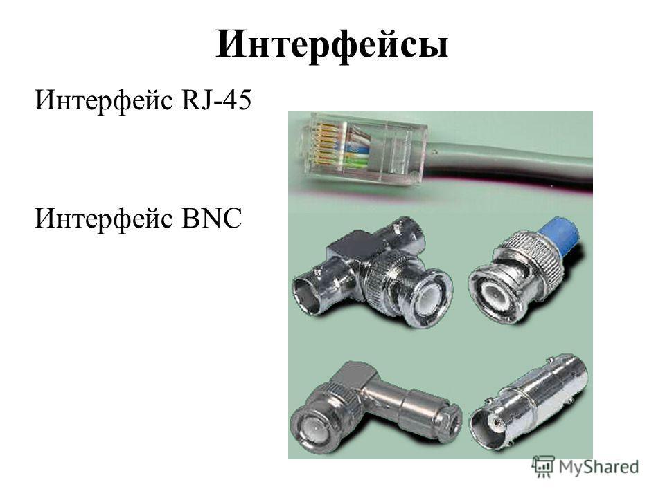 Интерфейсы Интерфейс RJ-45 Интерфейс BNC