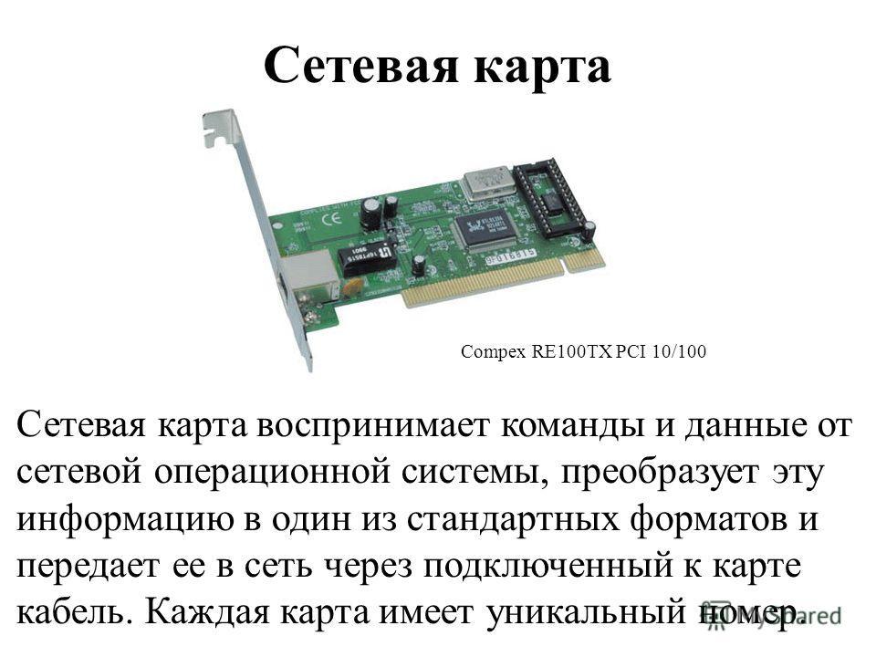 Сетевая карта Сетевая карта воспринимает команды и данные от сетевой операционной системы, преобразует эту информацию в один из стандартных форматов и передает ее в сеть через подключенный к карте кабель. Каждая карта имеет уникальный номер. Compex R