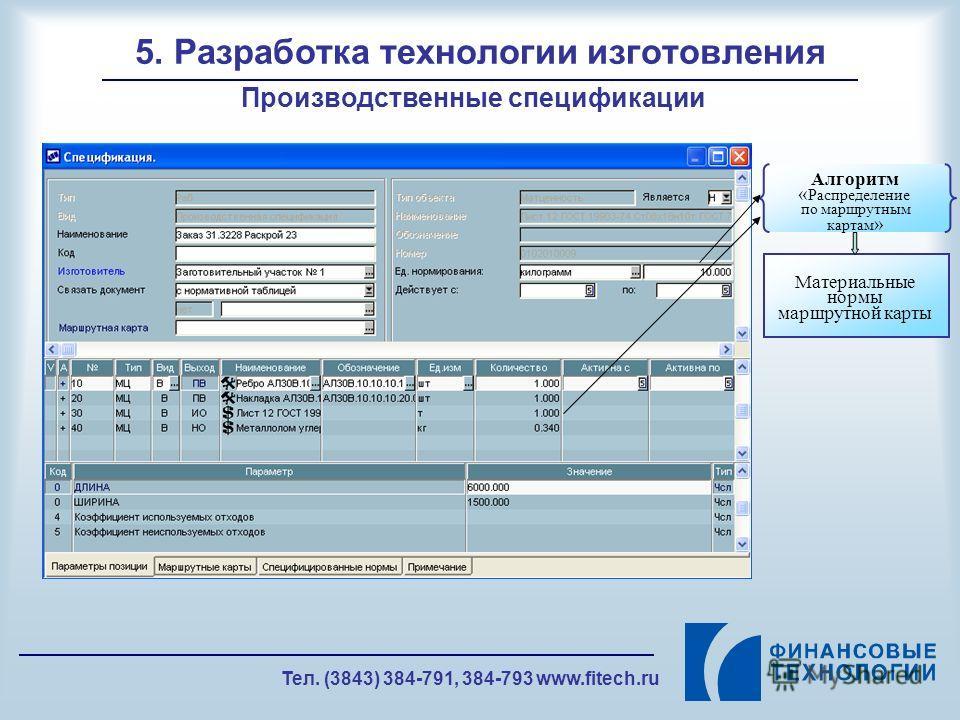 Тел. (3843) 384-791, 384-793 www.fitech.ru 5. Разработка технологии изготовления Производственные спецификации Алгоритм « Распределение по маршрутным картам » Материальные нормы маршрутной карты
