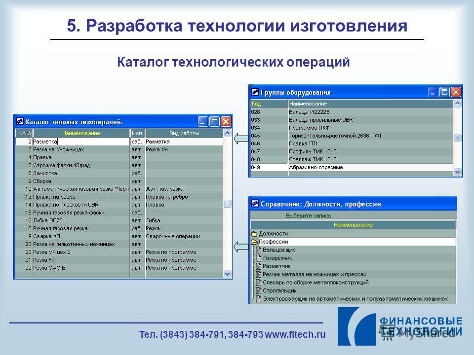 Тел. (3843) 384-791, 384-793 www.fitech.ru 5. Разработка технологии изготовления Каталог технологических операций