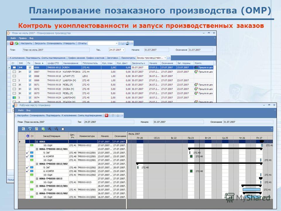 Планирование позаказного производства (OMP) Контроль укомплектованности и запуск производственных заказов