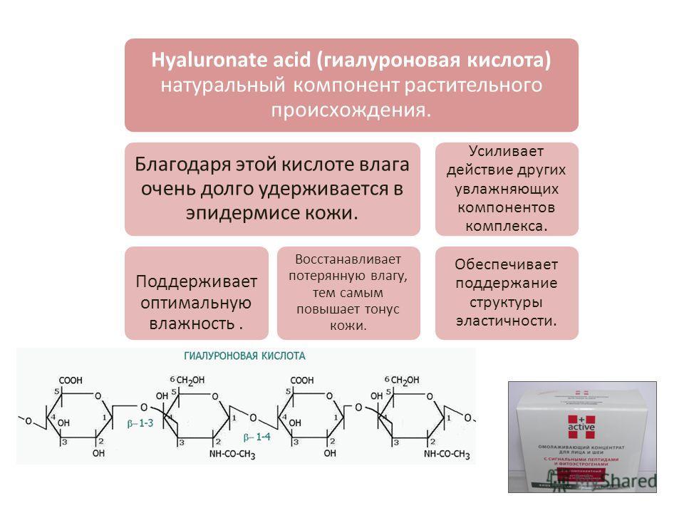 Hyaluronate acid (гиалуроновая кислота) натуральный компонент растительного происхождения. Благодаря этой кислоте влага очень долго удерживается в эпидермисе кожи. Поддерживает оптимальную влажность. Восстанавливает потерянную влагу, тем самым повыша
