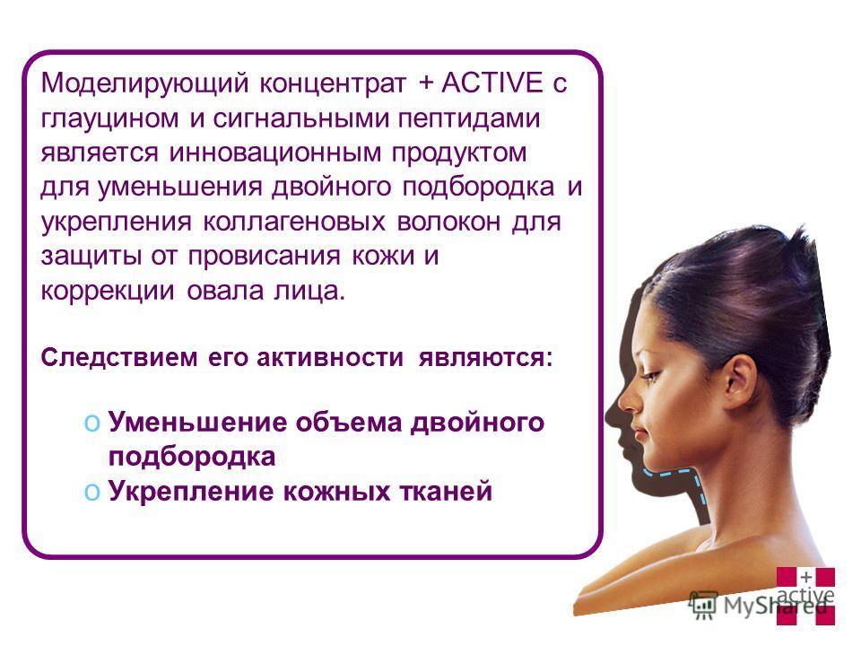 Моделирующий концентрат + ACTIVE c глауцином и сигнальными пептидами является инновационным продуктом для уменьшения двойного подбородка и укрепления коллагеновых волокон для защиты от провисания кожи и коррекции овала лица. Следствием его активности
