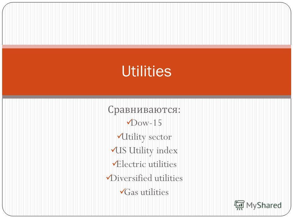 Сравниваются : Dow-15 Utility sector US Utility index Electric utilities Diversified utilities Gas utilities Utilities