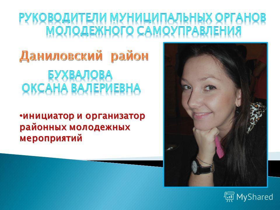 инициатор и организатор инициатор и организатор районных молодежных мероприятий