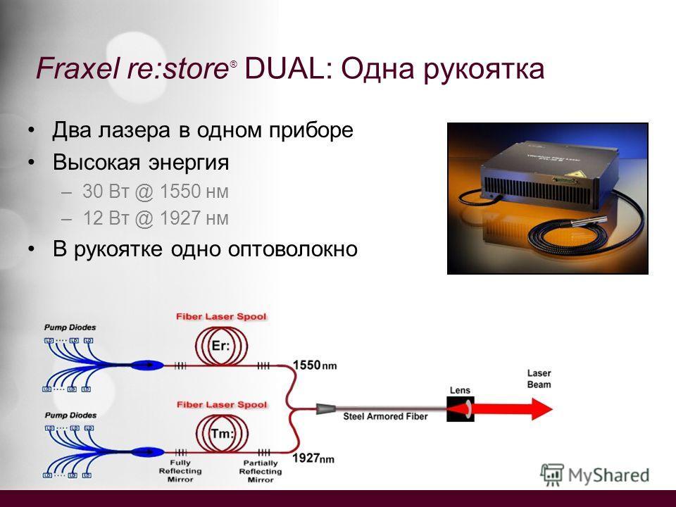 Fraxel re:store ® DUAL: Одна рукоятка Два лазера в одном приборе Высокая энергия –30 Вт @ 1550 нм –12 Вт @ 1927 нм В рукоятке одно оптоволокно