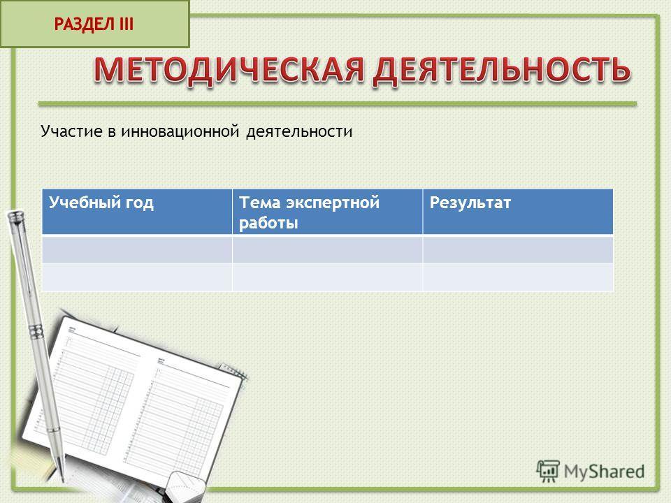 Участие в инновационной деятельности Учебный годТема экспертной работы Результат