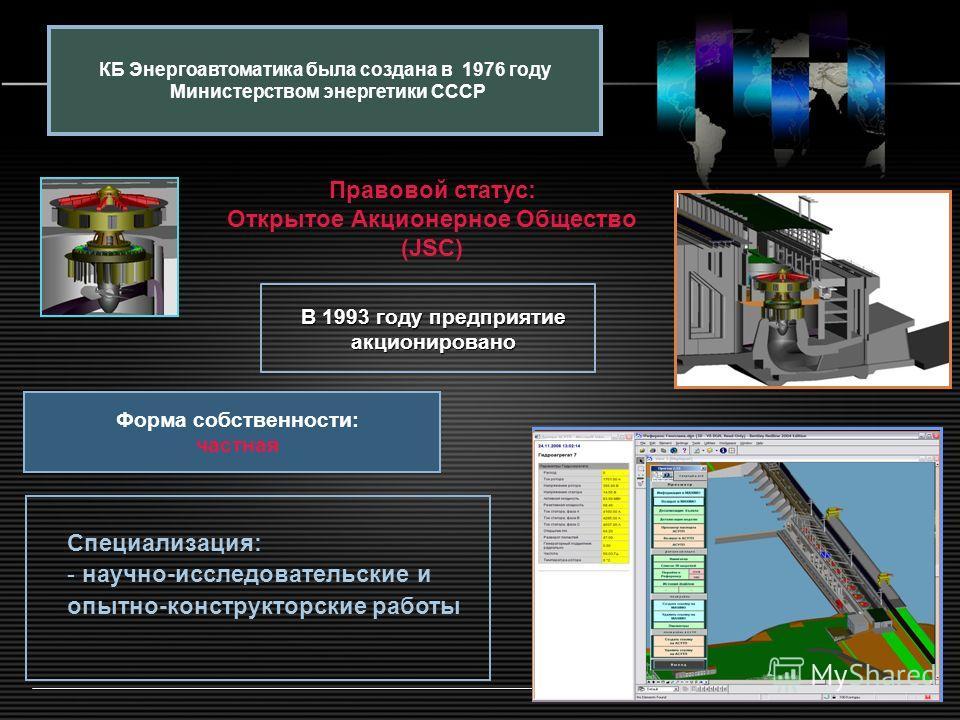 LOGO www.themegallery.com В 1993 году предприятие акционировано КБ Энергоавтоматика была создана в 1976 году Министерством энергетики СССР Правовой статус: Открытое Акционерное Общество (JSC) Форма собственности: частная Специализация: - научно-иссле
