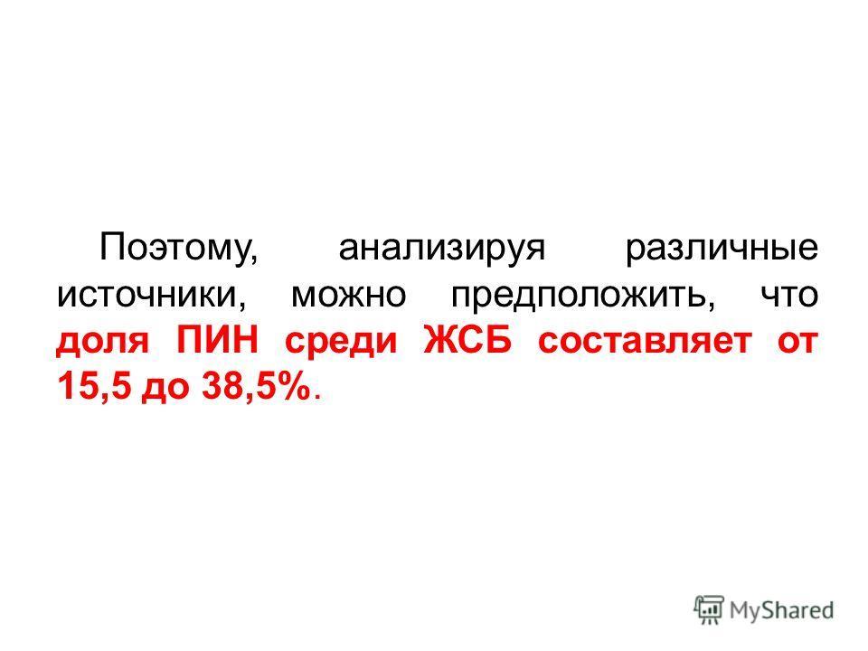 Поэтому, анализируя различные источники, можно предположить, что доля ПИН среди ЖСБ составляет от 15,5 до 38,5%.