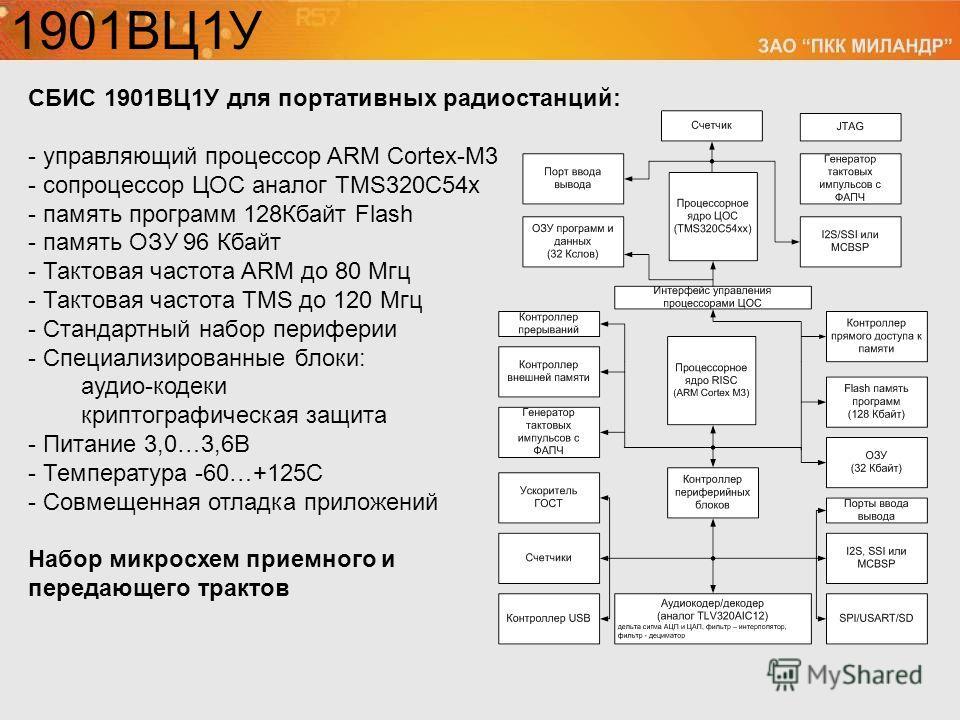 СБИС 1901ВЦ1У для портативных радиостанций: - управляющий процессор ARM Cortex-M3 - сопроцессор ЦОС аналог TMS320C54x - память программ 128Кбайт Flash - память ОЗУ 96 Кбайт - Тактовая частота ARM до 80 Мгц - Тактовая частота TMS до 120 Мгц - Стандарт