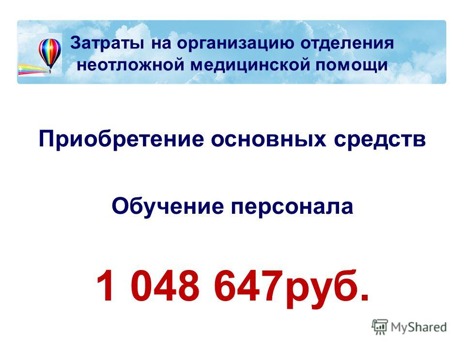 Затраты на организацию отделения неотложной медицинской помощи Приобретение основных средств Обучение персонала 1 048 647руб.