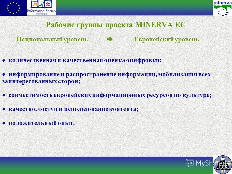 Рабочие группы проекта MINERVA EC Национальный уровень Европейский уровень количественная и качественная оценка оцифровки; информирование и распространение информации, мобилизация всех заинтересованных сторон; совместимость европейских информационных