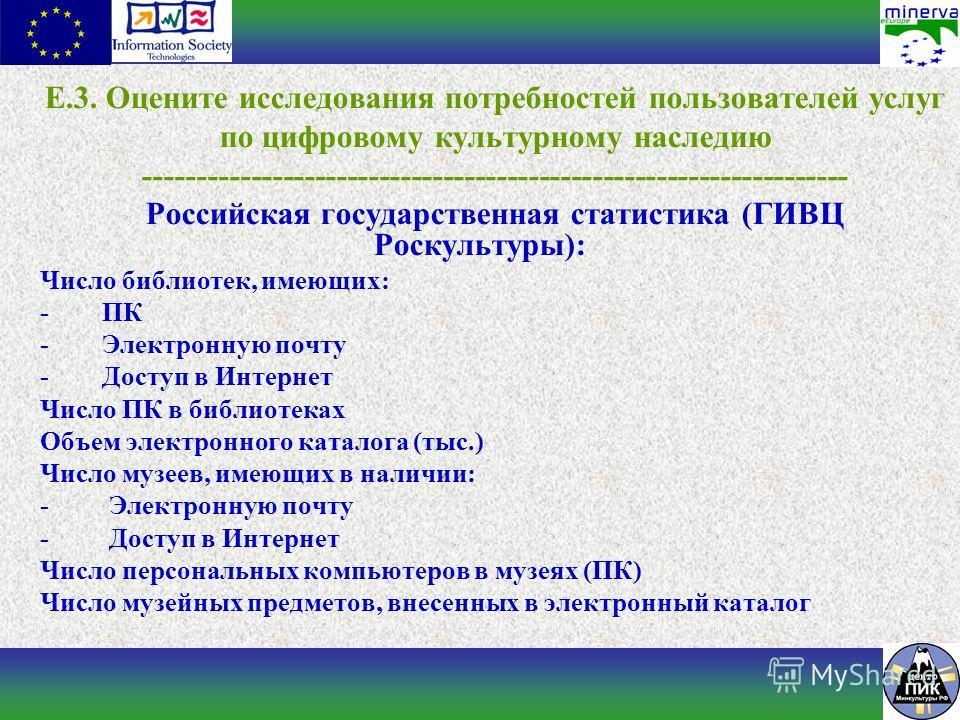 E.3. Оцените исследования потребностей пользователей услуг по цифровому культурному наследию ------------------------------------------------------------------ Российская государственная статистика (ГИВЦ Роскультуры): Число библиотек, имеющих: - ПК -