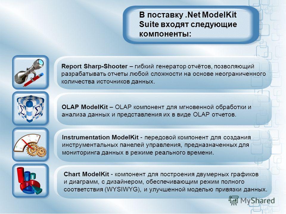В поставку.Net ModelKit Suite входят следующие компоненты: Report Sharp-Shooter – гибкий генератор отчётов, позволяющий разрабатывать отчеты любой сложности на основе неограниченного количества источников данных. OLAP ModelKit – OLAP компонент для мг