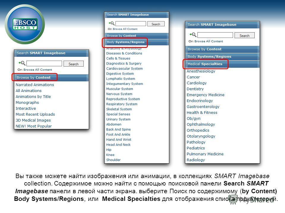 Вы также можете найти изображения или анимации, в коллекциях SMART Imagebase collection. Содержимое можно найти с помощью поисковой панели Search SMART Imagebase панели в левой части экрана. выберите Поиск по содержимому (by Content) Body Systems/Reg
