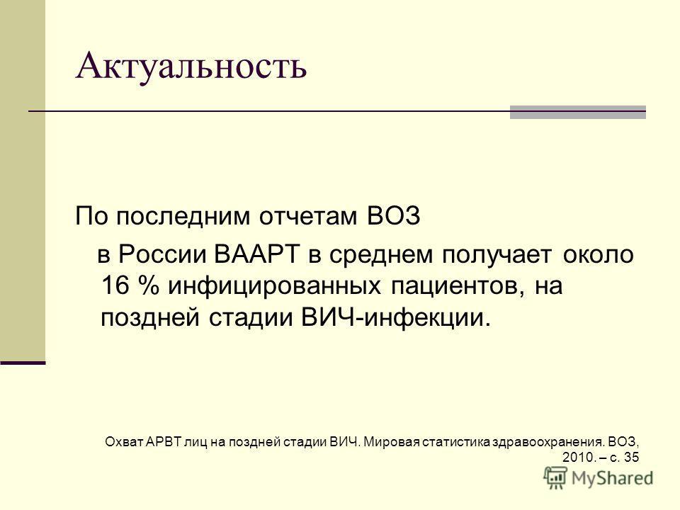 Актуальность По последним отчетам ВОЗ в России ВААРТ в среднем получает около 16 % инфицированных пациентов, на поздней стадии ВИЧ-инфекции. Охват АРВТ лиц на поздней стадии ВИЧ. Мировая статистика здравоохранения. ВОЗ, 2010. – с. 35