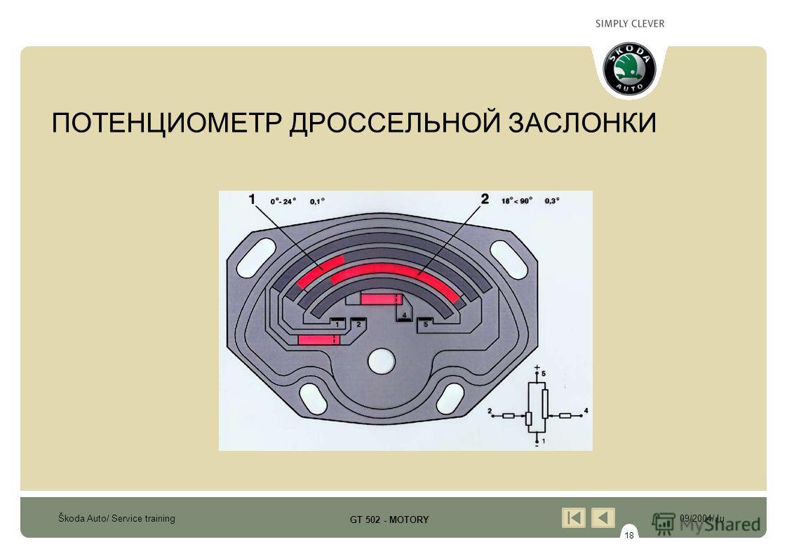 18 Škoda Auto/ Service training09/2004/Ju GT 502 - MOTORY ПОТЕНЦИОМЕТР ДРОССЕЛЬНОЙ ЗАСЛОНКИ