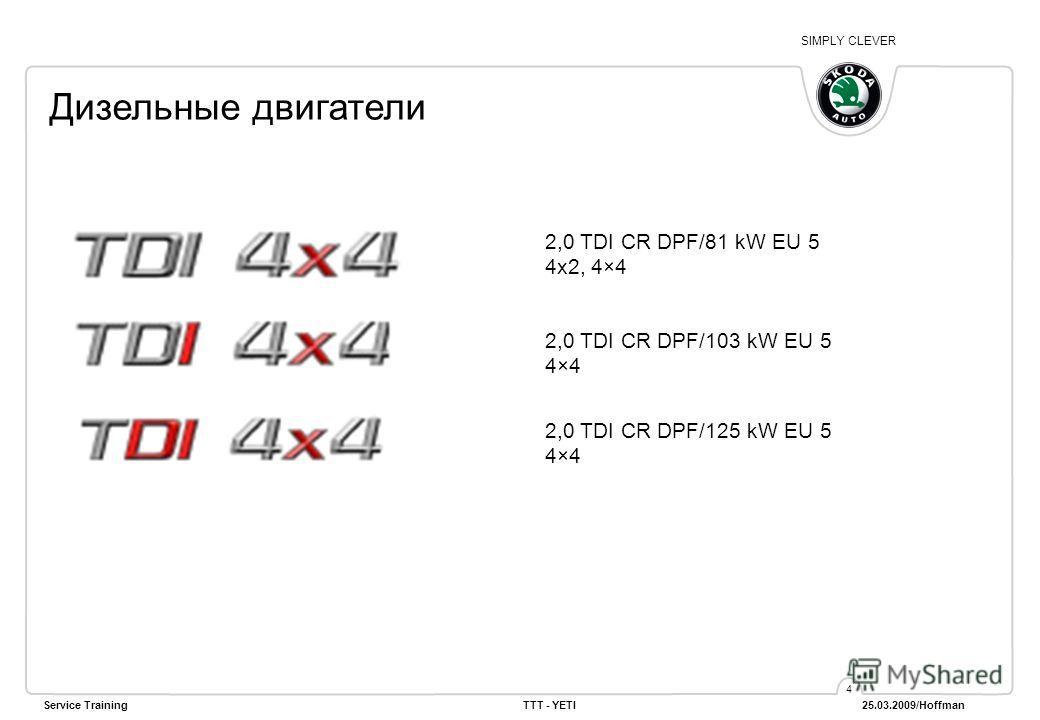 SIMPLY CLEVER Service TrainingTTT - YETI 25.03.2009/Hoffman 4 Дизельные двигатели 2,0 TDI CR DPF/81 kW EU 5 4x2, 4×4 2,0 TDI CR DPF/103 kW EU 5 4×4 2,0 TDI CR DPF/125 kW EU 5 4×4