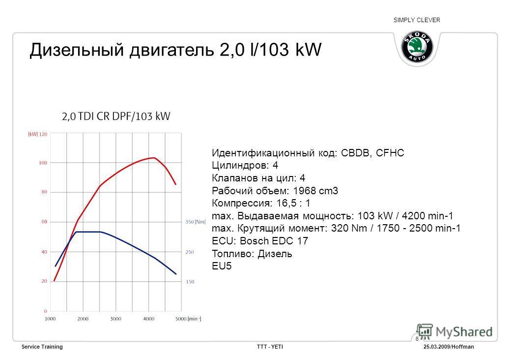 SIMPLY CLEVER Service TrainingTTT - YETI 25.03.2009/Hoffman 6 Дизельный двигатель 2,0 l/103 kW Идентификационный код: CBDB, CFHC Цилиндров: 4 Клапанов на цил: 4 Рабочий объем: 1968 cm3 Компрессия: 16,5 : 1 max. Выдаваемая мощность: 103 kW / 4200 min-