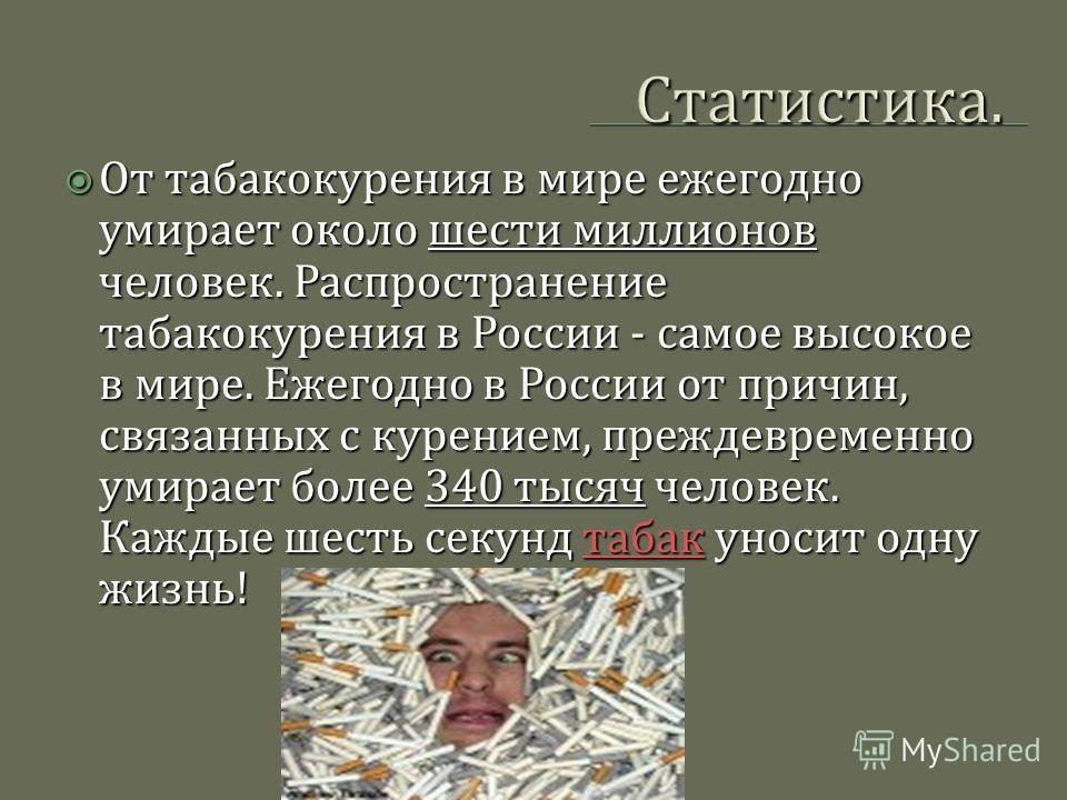 Статистика. От табакокурения в мире ежегодно умирает около шести миллионов человек. Распространение табакокурения в России - самое высокое в мире. Ежегодно в России от причин, связанных с курением, преждевременно умирает более 340 тысяч человек. Кажд