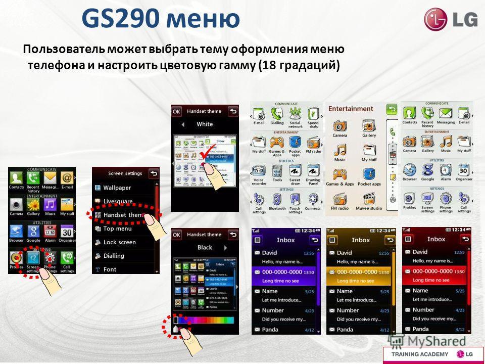 GS290 меню Пользователь может выбрать тему оформления меню телефона и настроить цветовую гамму (18 градаций)