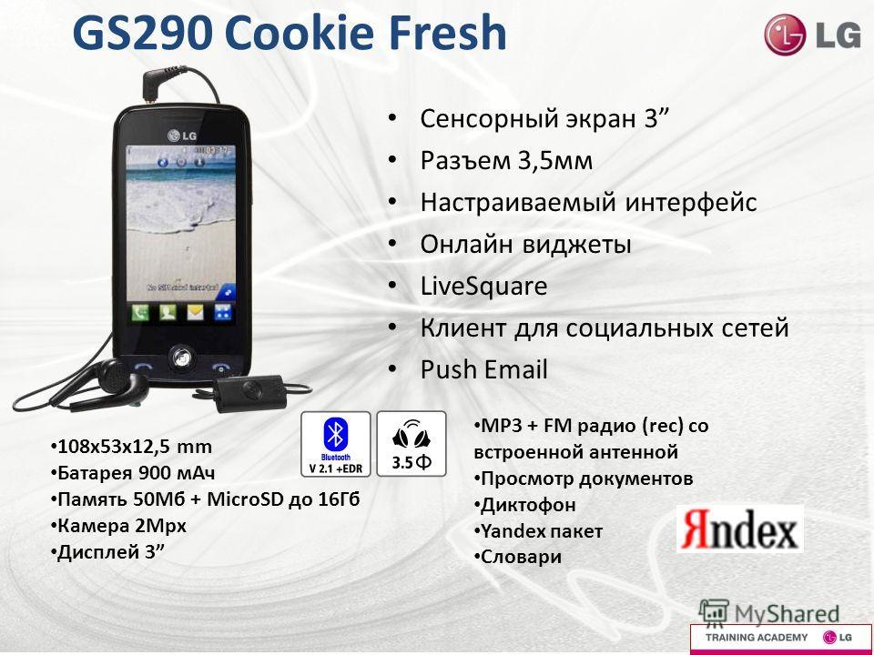 GS290 Cookie Fresh Сенсорный экран 3 Разъем 3,5мм Настраиваемый интерфейс Онлайн виджеты LiveSquare Клиент для социальных сетей Push Email 108x53x12,5 mm Батарея 900 мАч Память 50Мб + MicroSD до 16Гб Камера 2Мрх Дисплей 3 МР3 + FM радио (rec) со встр