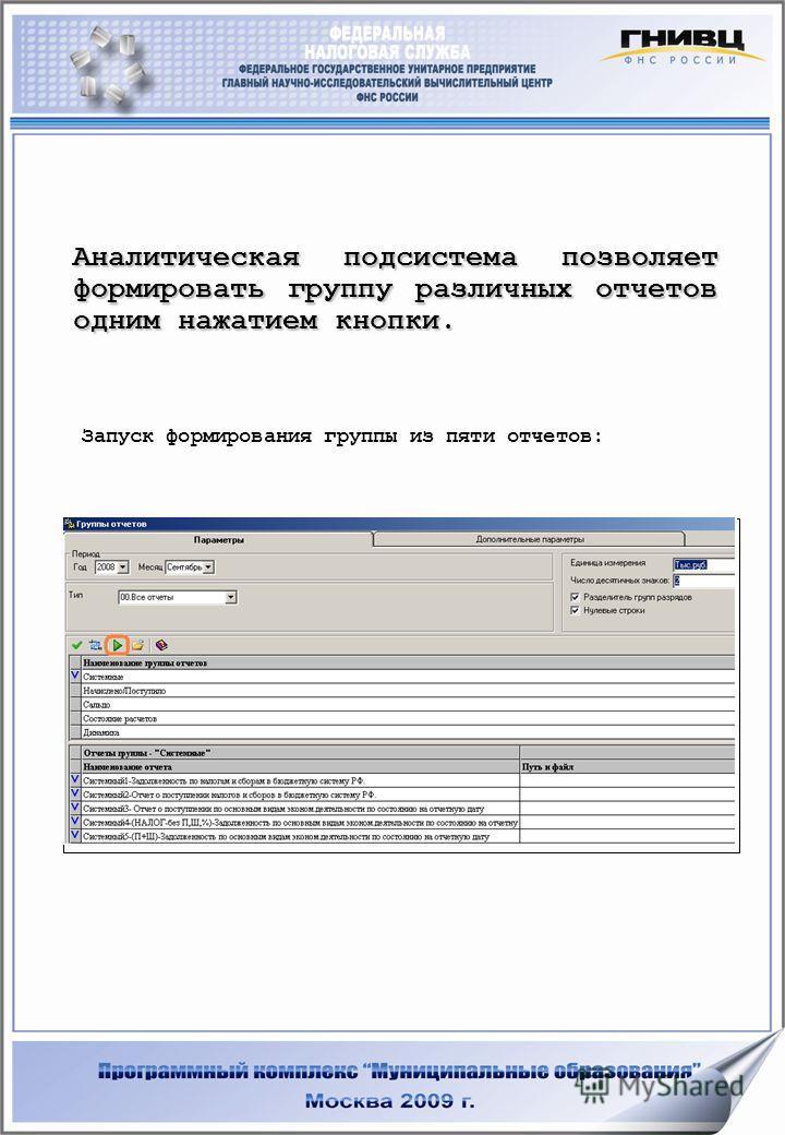 Аналитическая подсистема позволяет формировать группу различных отчетов одним нажатием кнопки. Запуск формирования группы из пяти отчетов: