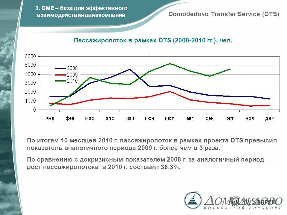 По итогам 10 месяцев 2010 г. пассажиропоток в рамках проекта DTS превысил показатель аналогичного периода 2009 г. более чем в 3 раза. По сравнению с докризисным показателем 2008 г. за аналогичный период рост пассажиропотока в 2010 г. составил 36,3%.