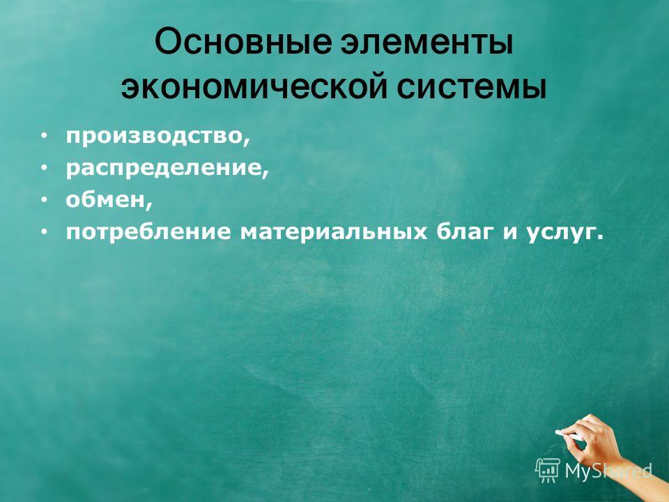 Основные элементы экономической системы производство, распределение, обмен, потребление материальных благ и услуг.