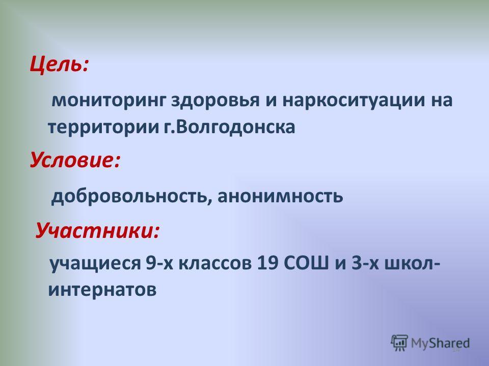 Цель: мониторинг здоровья и наркоситуации на территории г.Волгодонска Условие: добровольность, анонимность Участники: учащиеся 9-х классов 19 СОШ и 3-х школ- интернатов 14