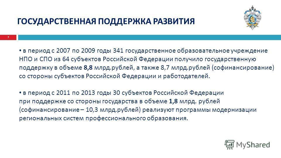 7 ГОСУДАРСТВЕННАЯ ПОДДЕРЖКА РАЗВИТИЯ в период с 2007 по 2009 годы 341 государственное образовательное учреждение НПО и СПО из 64 субъектов Российской Федерации получило государственную поддержку в объеме 8,8 млрд.рублей, а также 8,7 млрд.рублей (софи