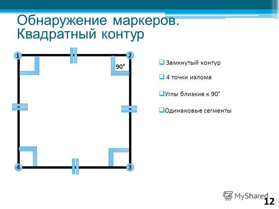 Замкнутый контур 4 точки излома Углы близкие к 90° Одинаковые сегменты 1 2 4 3 90° Обнаружение маркеров. Квадратный контур 12