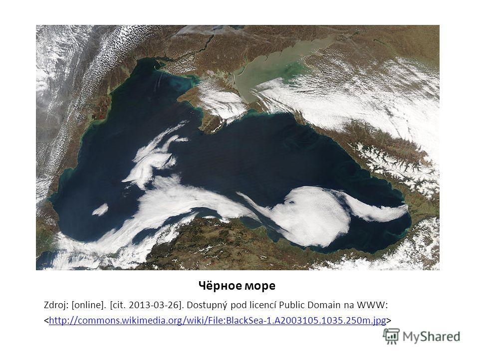 Чёрное море Zdroj: [online]. [cit. 2013-03-26]. Dostupný pod licencí Public Domain na WWW: http://commons.wikimedia.org/wiki/File:BlackSea-1.A2003105.1035.250m.jpg