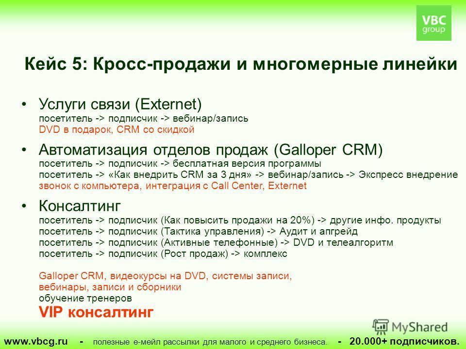 Кейс 5: Кросс-продажи и многомерные линейки www.vbcg.ru - полезные е-мейл рассылки для малого и среднего бизнеса. - 20.000+ подписчиков. Услуги связи (Externet) посетитель -> подписчик -> вебинар/запись DVD в подарок, CRM со скидкой Автоматизация отд