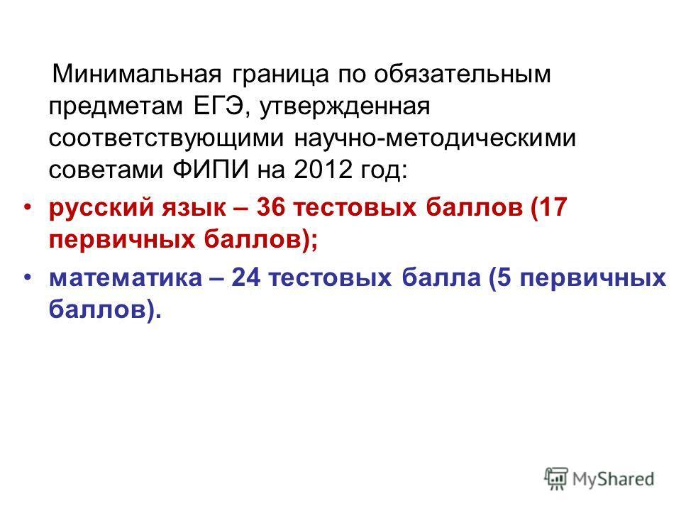 Минимальная граница по обязательным предметам ЕГЭ, утвержденная соответствующими научно-методическими советами ФИПИ на 2012 год: русский язык – 36 тестовых баллов (17 первичных баллов); математика – 24 тестовых балла (5 первичных баллов).