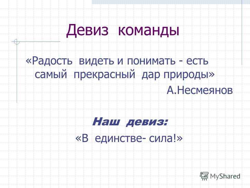 Девиз команды «Радость видеть и понимать - есть самый прекрасный дар природы» А.Несмеянов Наш девиз: «В единстве- сила!»