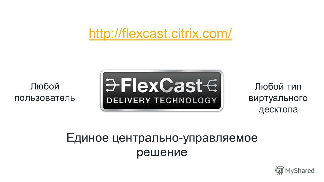 Любой пользователь Любой тип виртуального десктопа Единое центрально-управляемое решение http://flexcast.citrix.com/